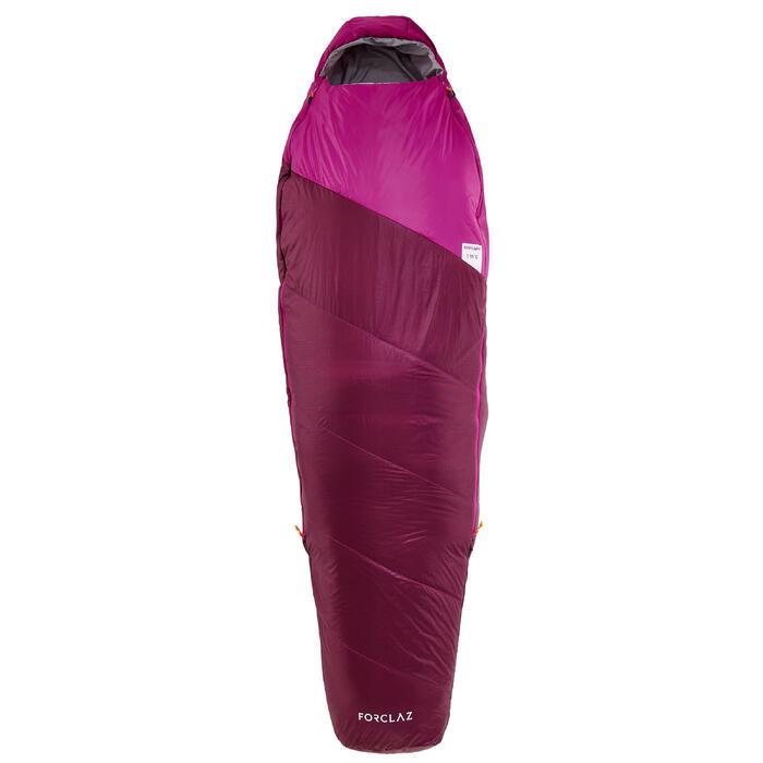 Saco de dormir de trekking TREK500 15° light violeta