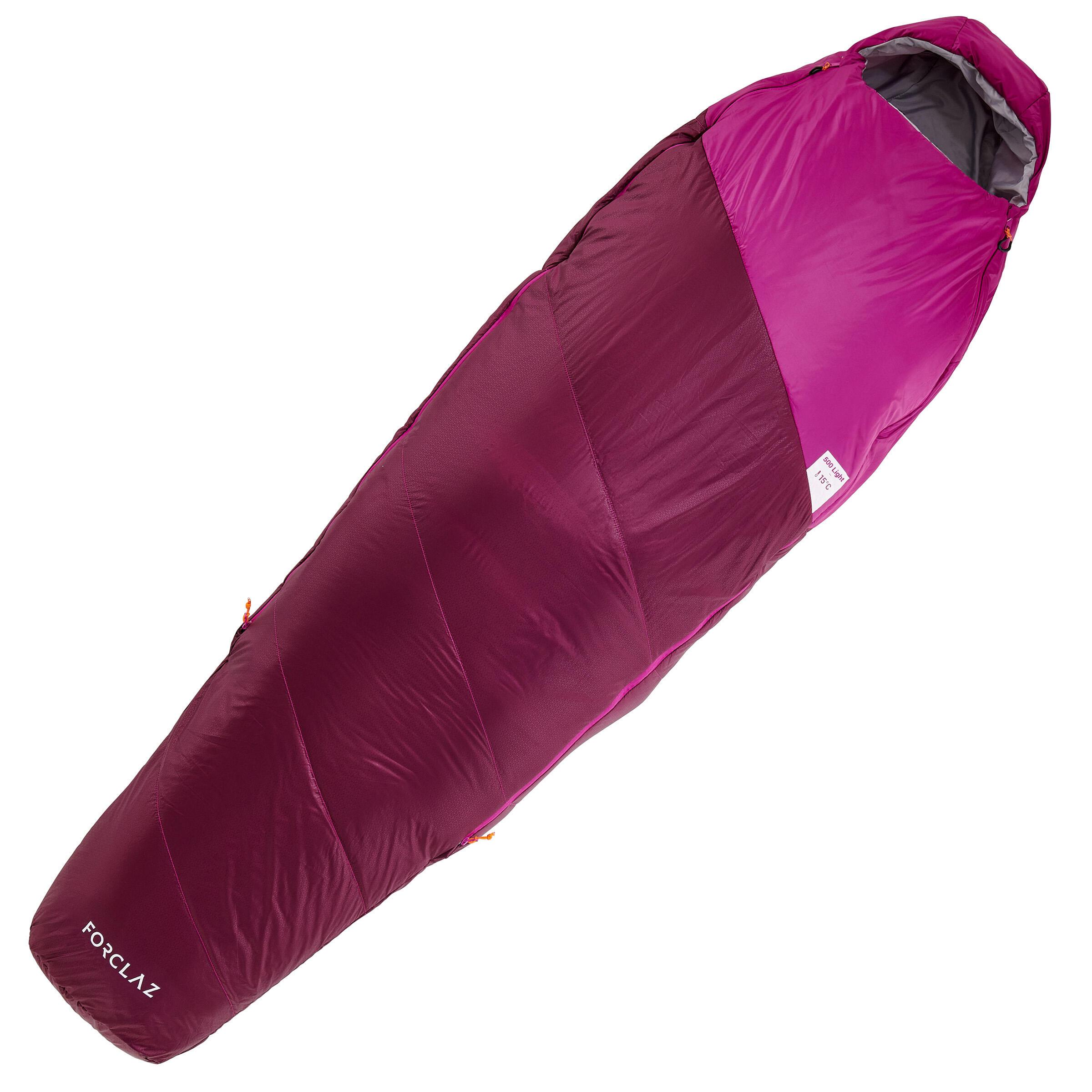 Sac de couchage RANDONNÉE PLUSIEURS JOUR 500 15°C violet