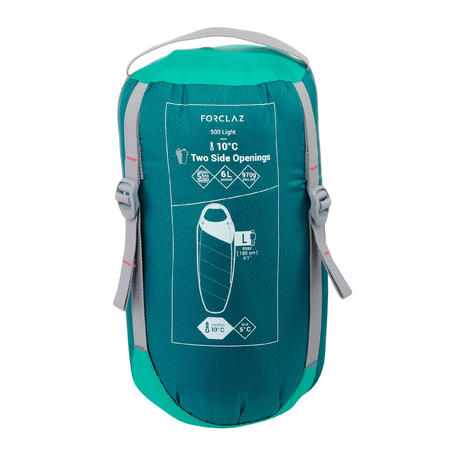 Trek 500 10° Trekking Sleeping Bag - Light Green