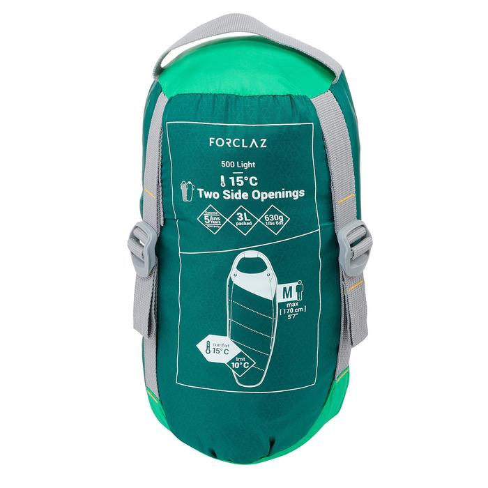 Trek 500 15° Trekking Sleeping Bag - Green