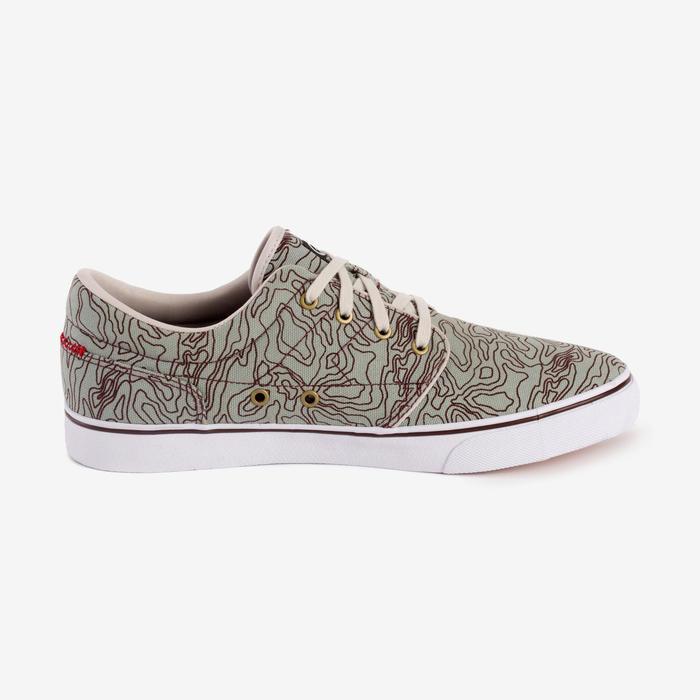 Chaussures basses skateboard-longboard adulte VULCA 100 M kaki et grise