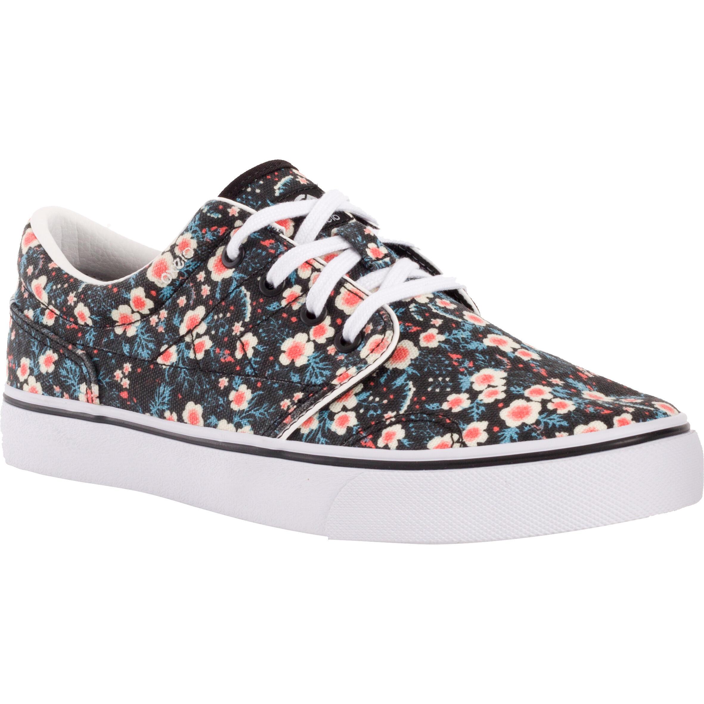 Oxelo Lage skateboard/longboardschoenen volwassenen Vulca 100 bloemen zwart