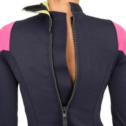 Uv-werende neopreen vrouwenwetsuit 1mm Zeilen Dinghy 500 donkerblauw/roze