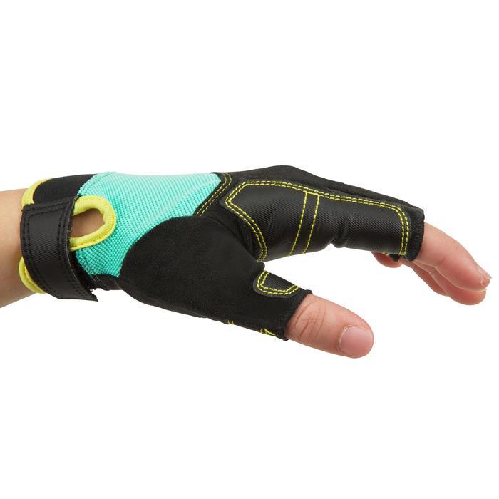 兒童露指划船運動手套500-綠色/黑色