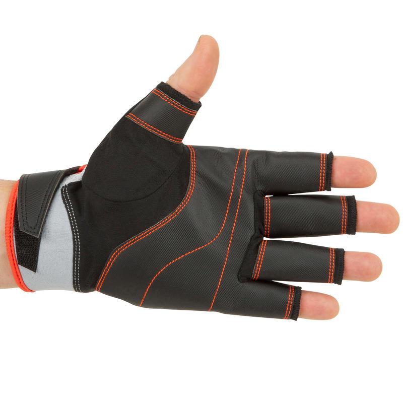 Adult sailing fingerless gloves SAILING 500 - Black / Grey