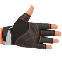 Segel-Handschuhe halbhand Sailing 500 Damen/Herren schwarz/grau