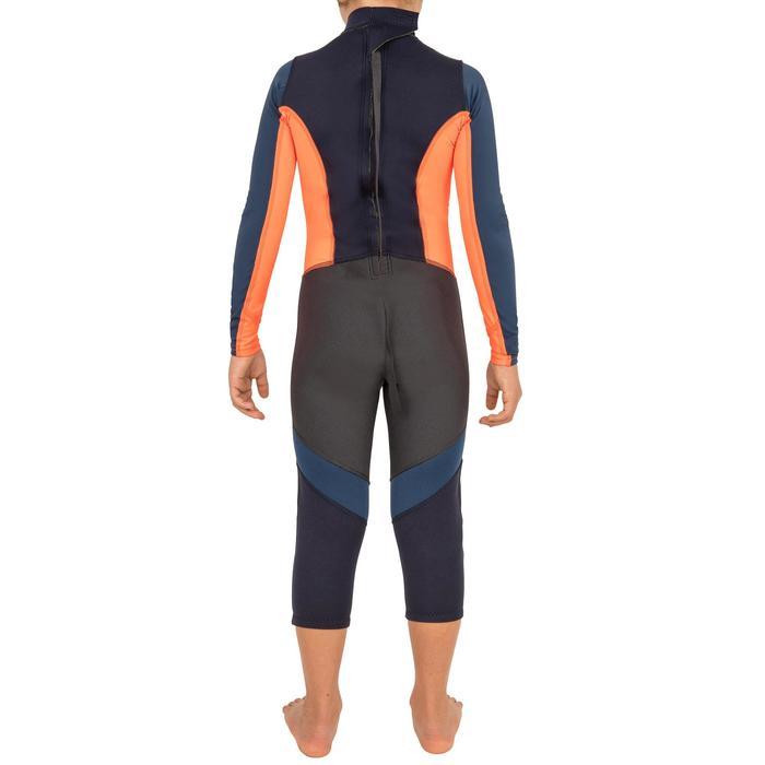 Traje neopreno 1 mm anti-UV vela ligera/catamarán niños azul oscuro/naranja