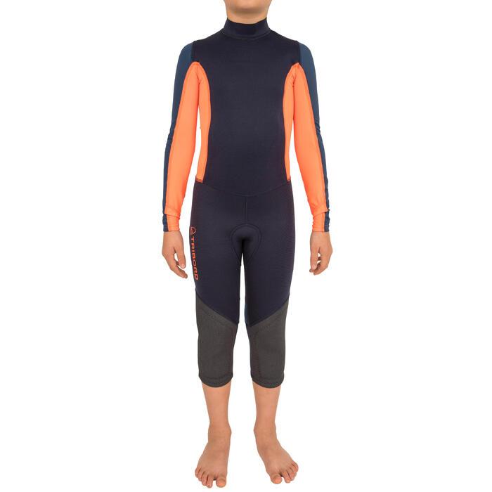 Combinaison néoprène 1mm anti-uv Voile enfant Dinghy 500 bleu foncé/orange