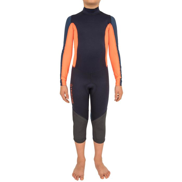 Combinaison néoprène 1mm anti-uv dériveur/catamaran enfant bleu foncé/orange