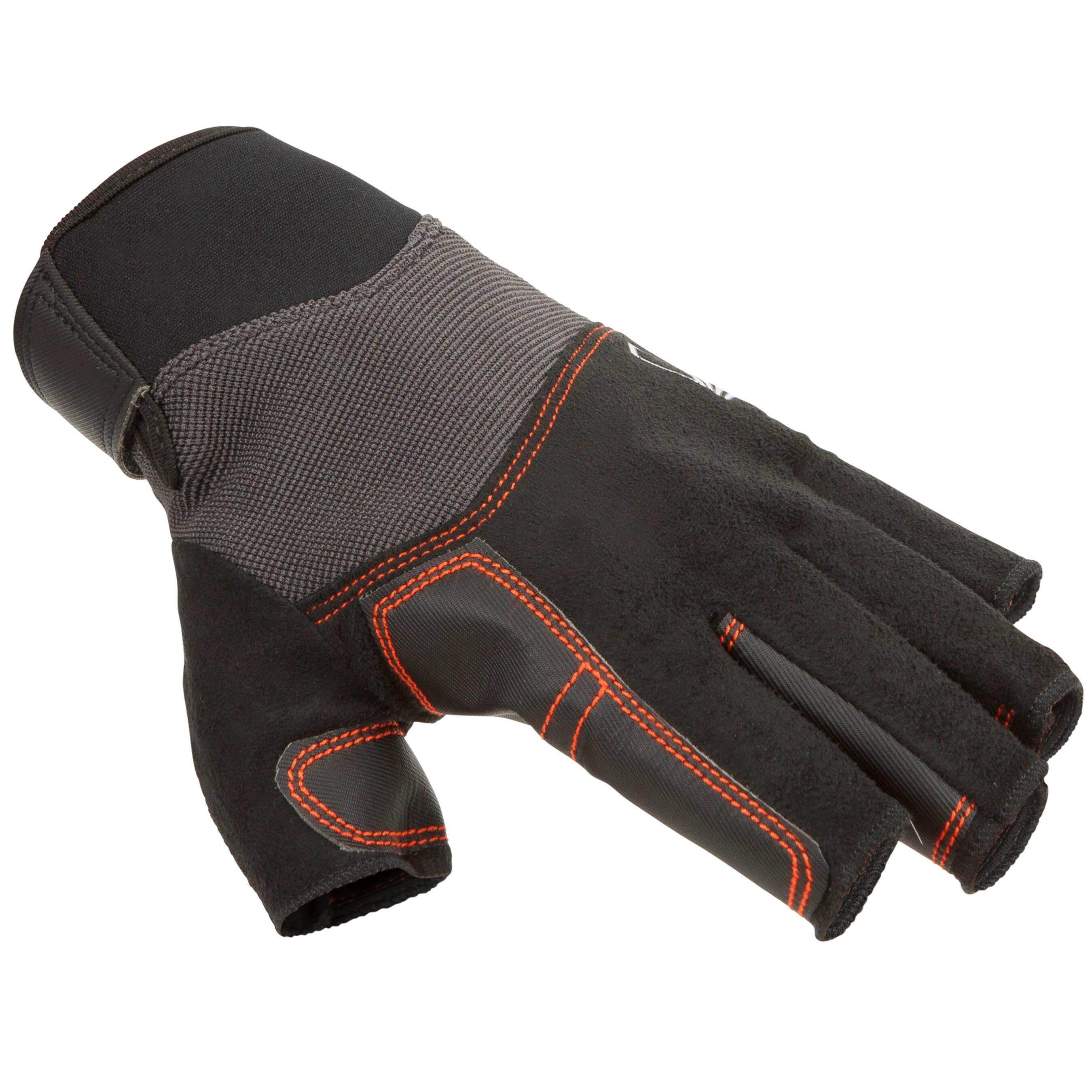 Segel-Handschuhe halbhand Sailing 500 Damen schwarz   Accessoires > Handschuhe > Sonstige Handschuhe   Tribord