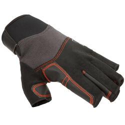 Segel-Handschuhe halbhand Sailing 500 Erwachsene schwarz