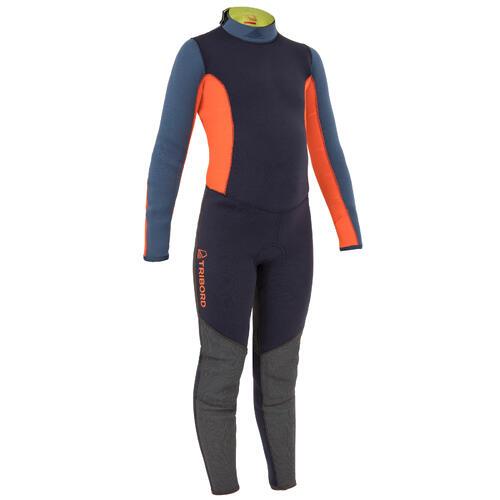Combinaison néoprène 3/2mm cousu-collée dériveur/catamaran enfant bleu/orange