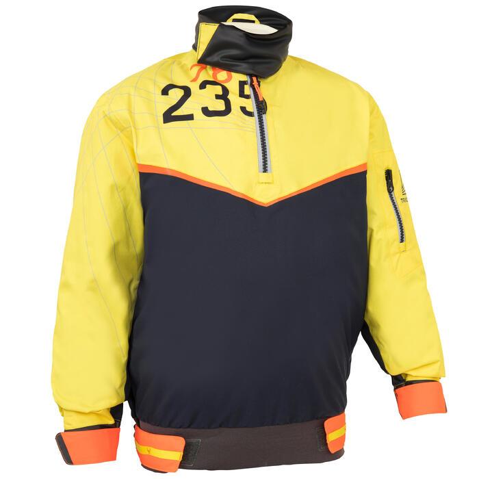Segeljacke Dinghy 500 winddicht Kinder dunkelblau/gelb