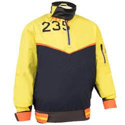 Windbestendige wetsuit Zeilen voor kinderen Dinghy 500 donkerblauw/geel