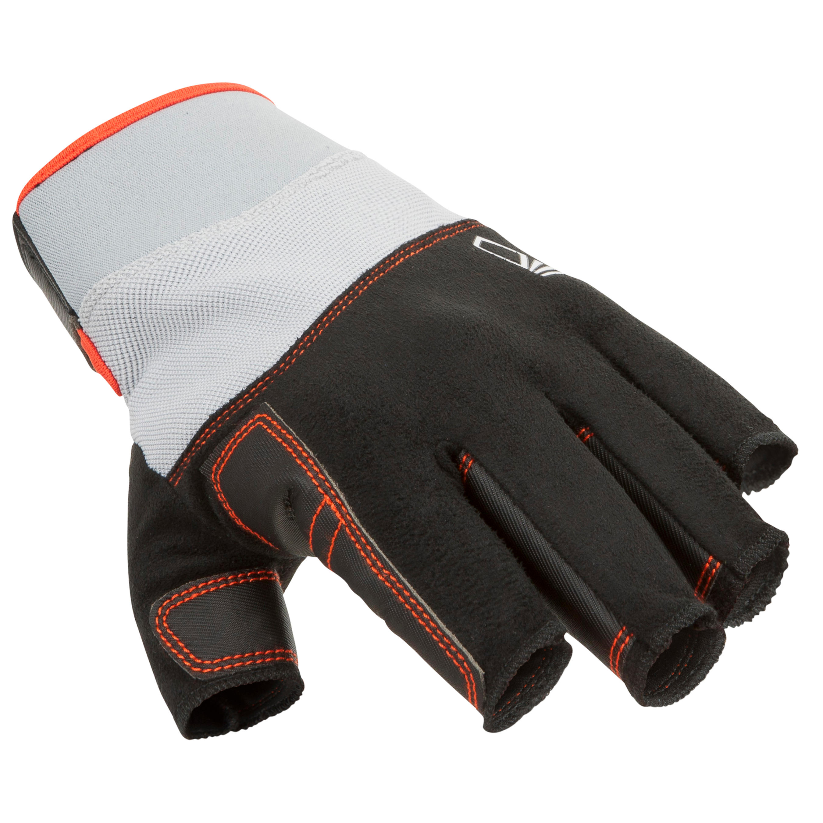 500 Adult Sailing Fingerless Gloves - Black/Grey
