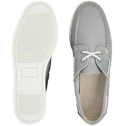 Chaussures bateau cuir homme CR500 gris bleu