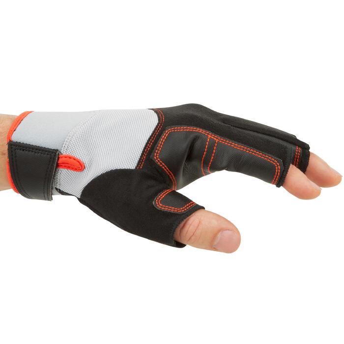 Segel-Handschuhe halbhand 500 Erwachsene schwarz/grau