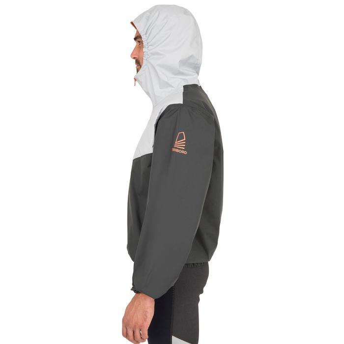 成人航海防水外套Dinghy 100-深灰色/淺灰色