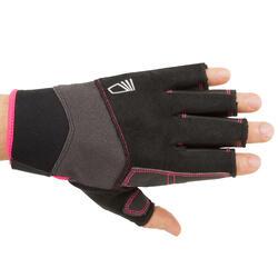 Segel-Handschuhe halbhand Sailing 500 Damen/Herren schwarz/rosa