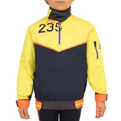 兒童款小船用航海防水外套500-深藍色/黃色