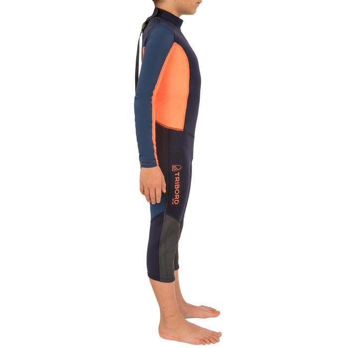 Uv-bestendige neopreen wetsuit 1mm Zeilen kinderen Dinghy 500 donkerblauw/oranje