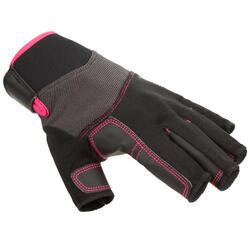 Zeilhandschoenen voor volwassenen 500 zwart/roze