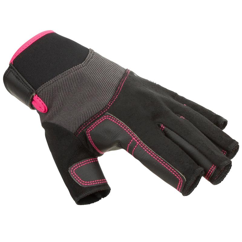 Adult sailing fingerless gloves 500 - black / pink