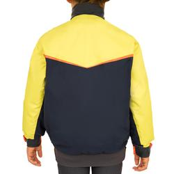 Chaqueta náutica Vareuse cortaviento Vela júnior Dinghy 500 azul oscuro/amarillo
