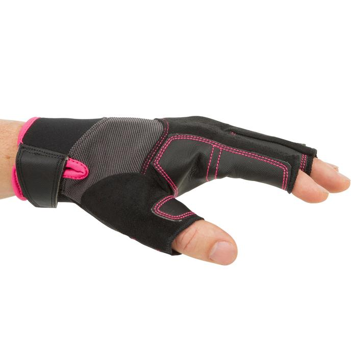 Segel-Handschuhe halbhand 500 Damen schwarz/rosa