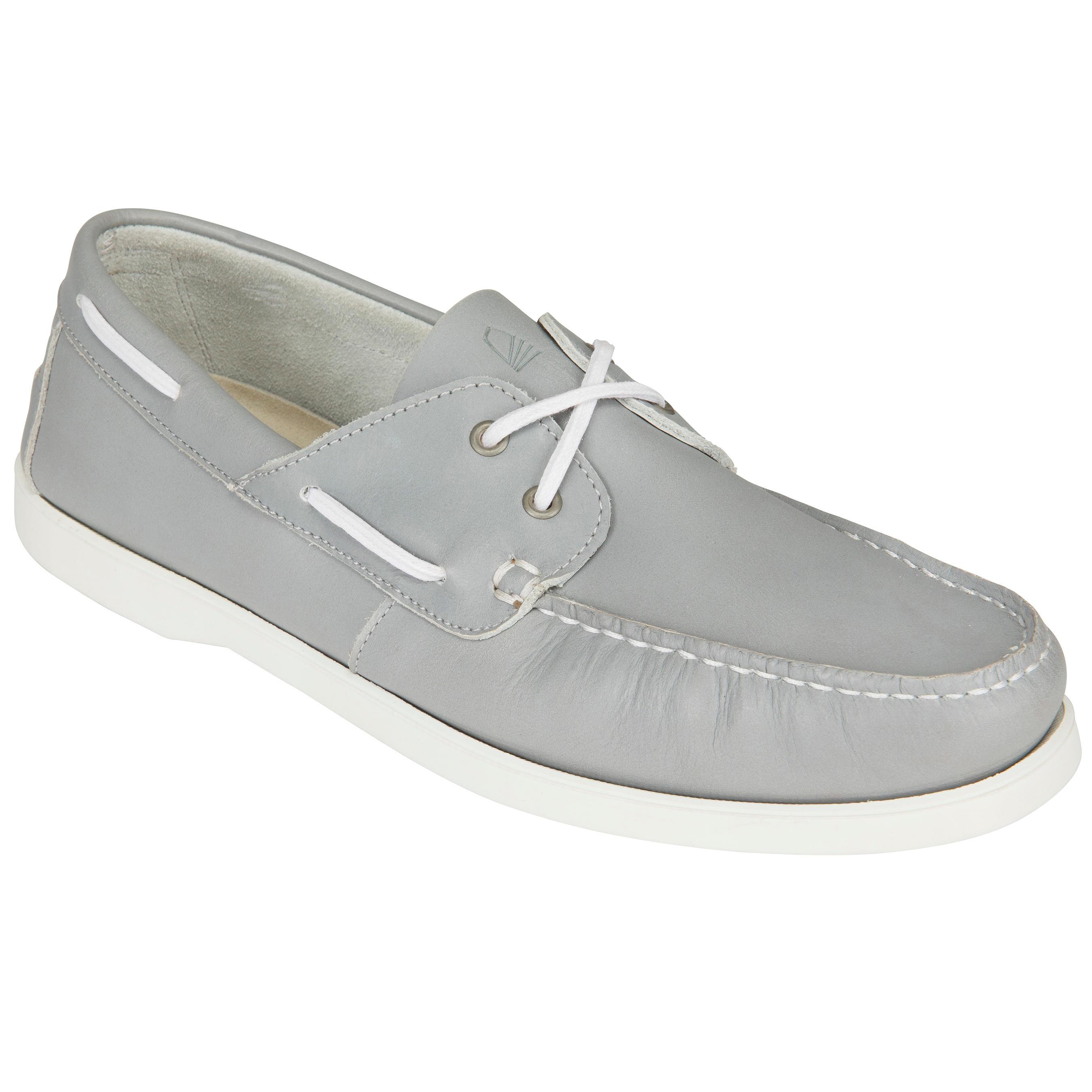 Tribord Leren bootschoenen CR500 voor heren grijs blauw