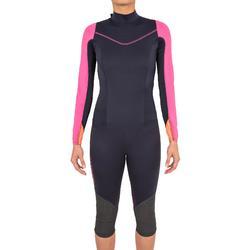 Traje de neopreno de 1 mm anti-UV Vela mujer Dinghy 500 azul oscuro/rosa