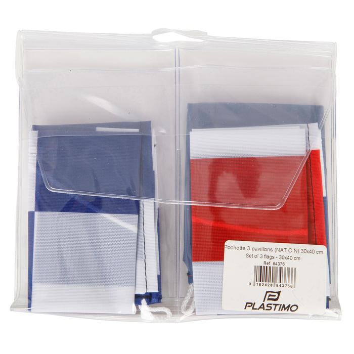 Set van 3 vlaggen voor aan boord (Franse vlag, N-vlag, C-vlag) Plastimo - 1291490