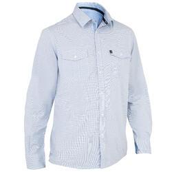 Heren overhemd 100 voor zeilen blauw
