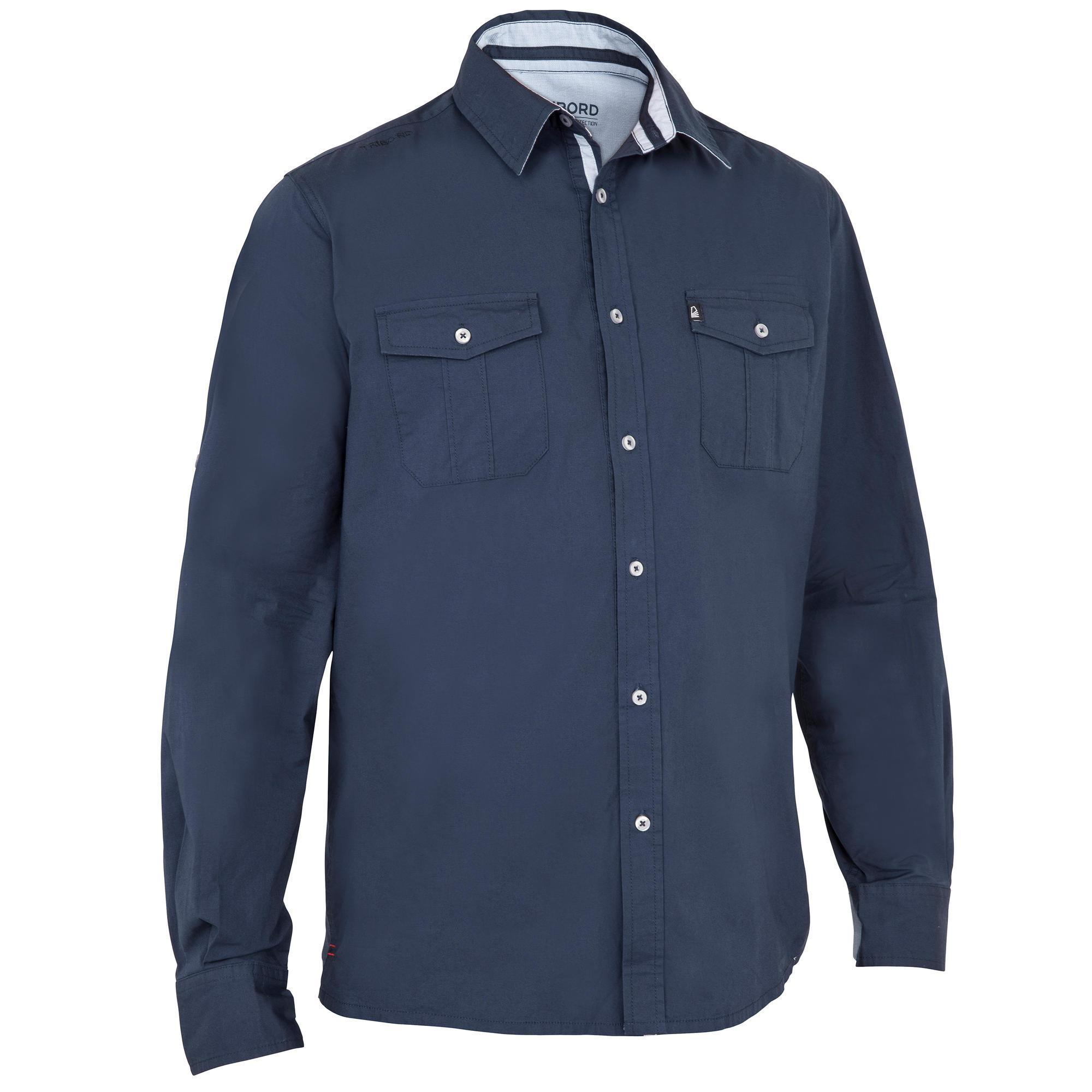 Tribord Heren overhemd 100 voor zeilen donkerblauw