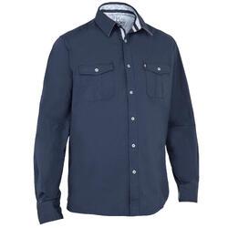 Heren overhemd 100 voor zeilen donkerblauw