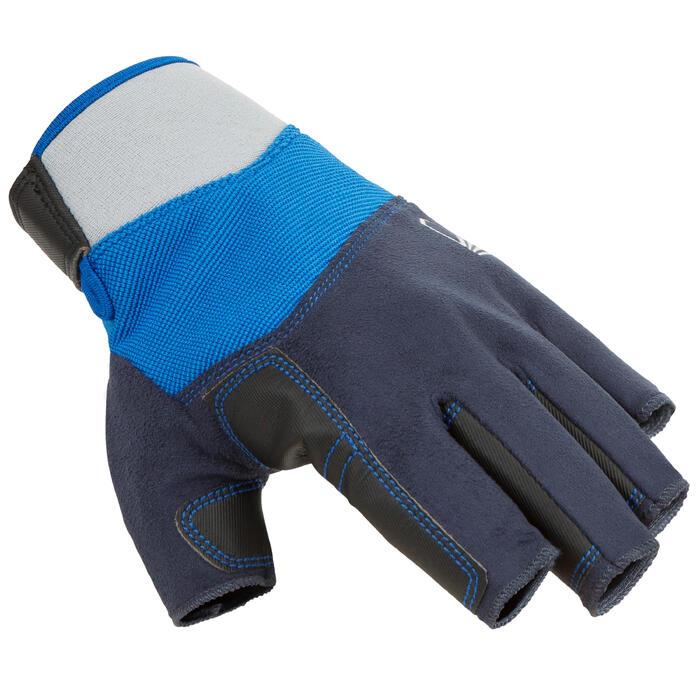 Segel-Handschuhe halbhand 500 Erwachsene blau/grau