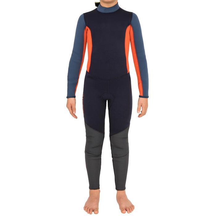 Wetsuit voor zeilen kinderen genaaid/gelijmd neopreen 3/2 mm 500 blauw/oranje