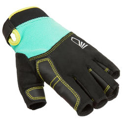500 Kids' Sailing Fingerless Gloves - Green/Black