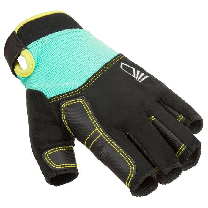 Segel-Handschuhe halbhand 500 Kinder grün/schwarz