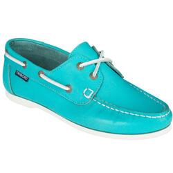 Leren bootschoenen dames Cruise 500 turquoise