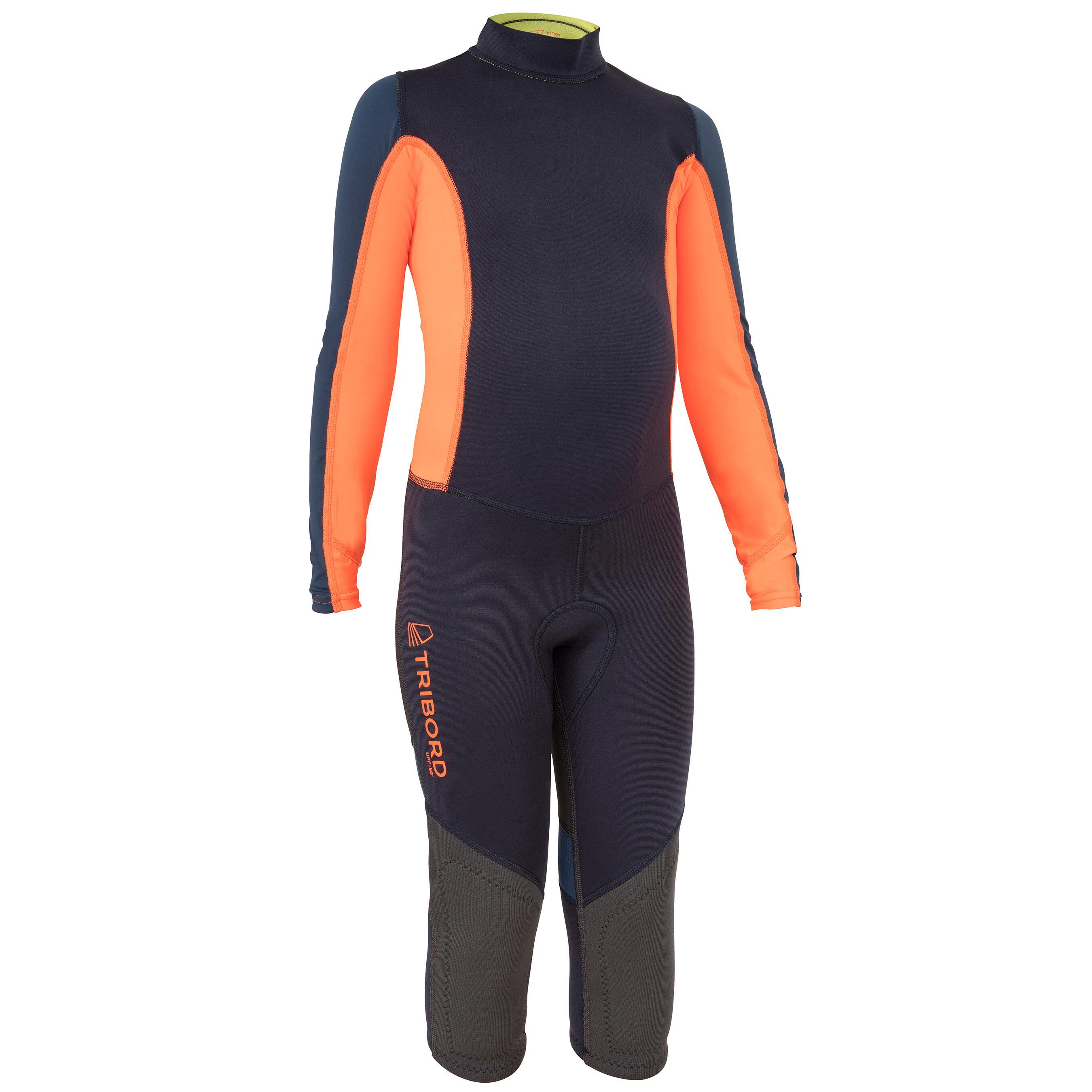 Tribord Uv-werende kinder wetsuit zwaardboot/catamaran neopreen 1 mm donkerblauw/oranje