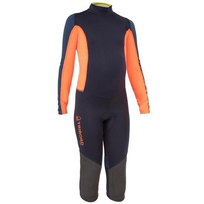 Combinaison néoprène 1mm anti-uv dériveur/catamaran enfant bleu foncé/orange - 1291524