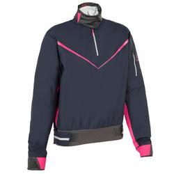 Windbestendige damesspraytop Zeilen Dinghy 500 donkerblauw/roze