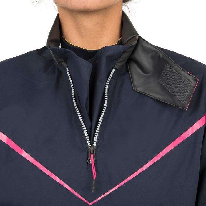 Chaqueta náutica Vareuse cortaviento Vela mujer Dinghy 500 azul oscuro/rosa