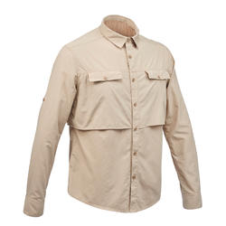 Men's long sleeved anti-UV desert trekking shirt - DESERT 500 - Beige