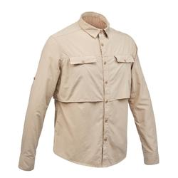 男款長袖沙漠健行襯衫Desert 500-米色