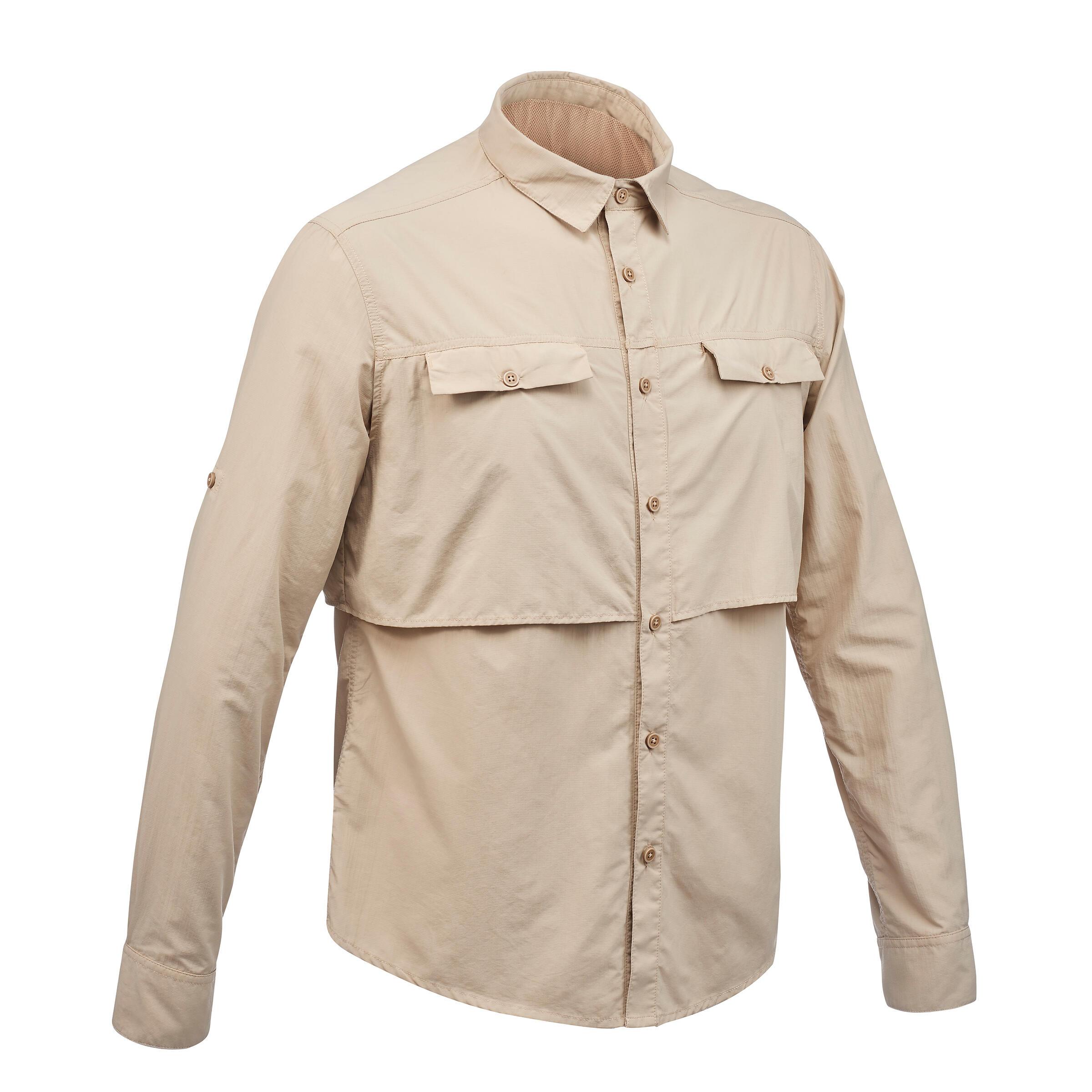 Forclaz Heren overhemd met lange mouwen voor woestijntrekking Desert 500 beige