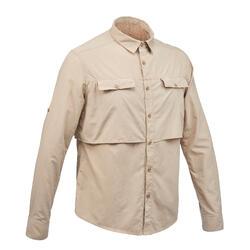 男款抗UV沙漠健行長袖襯衫DESERT 500-米色
