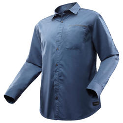 Men's Trekking Roll-sleeve Shirt TRAVEL 500 - Blue