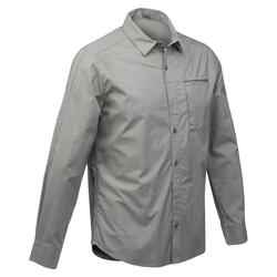 Men's ADJUSTABLE Trekking shirt TRAVEL 500 - khaki